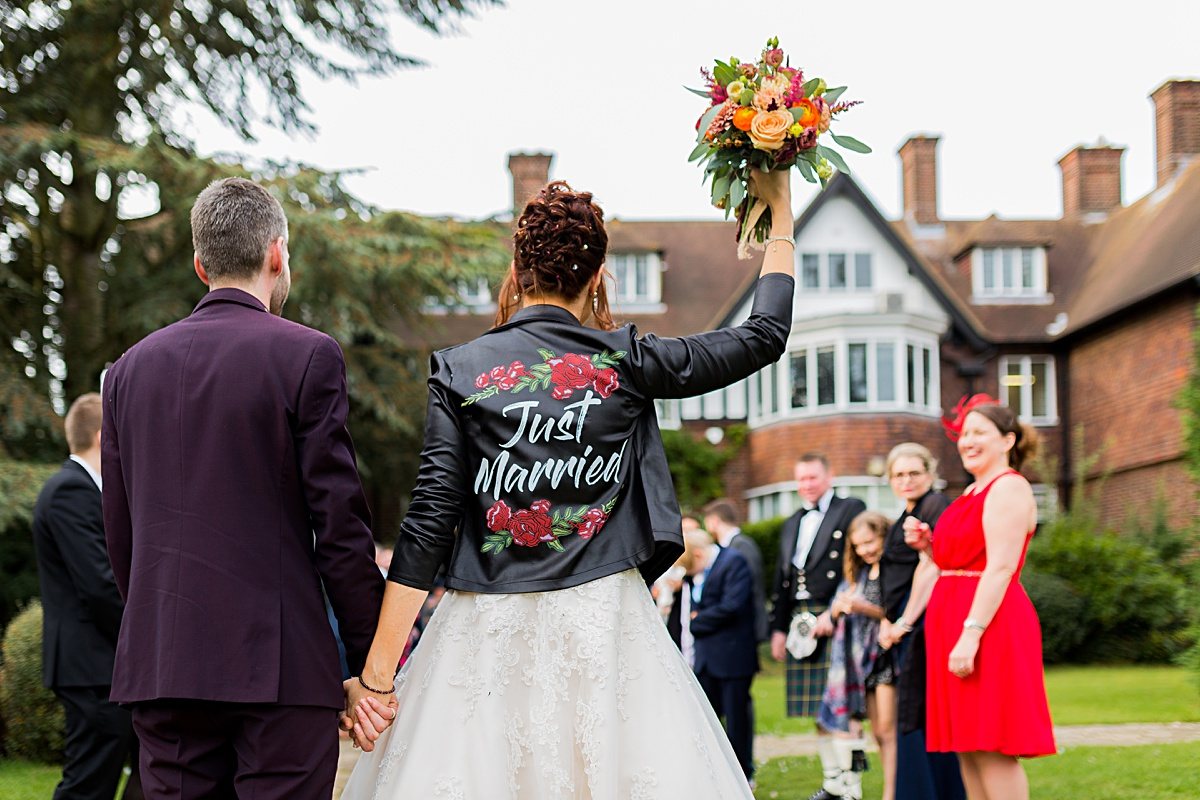 Just married leather Jacket,michael o'Sullivan Photography